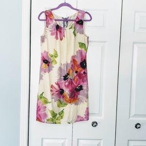 Ann Taylor Loft Sleeveless Floral Dress S 8 EUC